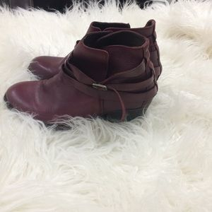 H By Hudson Shoes - H by Hudson London Burgundy Leather Strap Booties